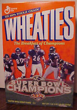 BALTIMORE RAVENS SUPERBOWL XXXV WHEATIES SEALED UNOPENED CERIAL  BOX. GOOD COND