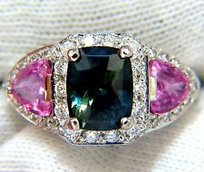 $14000 GIA 6.19ct NATURAL NO HEAT GREEN BLUE SAPPHIRE DIAMONDS RING UNHEATED