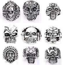 15 pieces Mens Skull Metal Alloy Punk Style Fashion Large Sizes Rings mixed lot