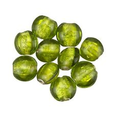 Transparent Green Colour Silver Lined Disc Glass Beads 10mm Pack of 10 (C22/11)