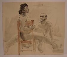 Lois Davis Male Female Nude Model Watercolor Listed Indiana Artist 18 x 21