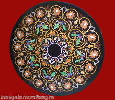 Black Marble Center Coffee Table Pietra dura Handmade Work For Home Decor Gifts
