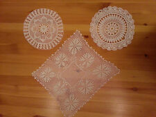 3 Hungarian vintage handmade table lace doilies doily