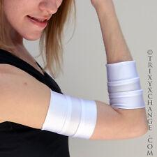 1027 White Arm Bands Wrestler Costume Gloves Cuffs Cosplay UV LED Blacklight Edm