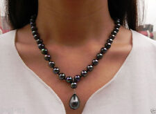 "Natural 8mm Black South Sea Shell Pearl Drop Pendant Necklace 18"" AAA+"