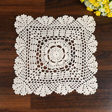 Vintage Cotton Hand Crochet Lace Doilies Ivory Square Floral 27cm Table Cup Mat