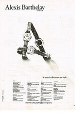PUBLICITE  1979   ALEXIS BARTHELAY    collection montres