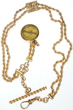 Antique Pocket Watch Rope Chain Gold Filled Compass Fob T-Bar