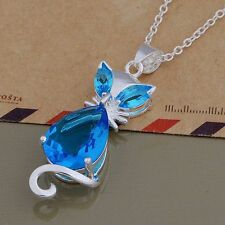 925 sterling Silver CUTE Fashion Crystal Cat Wedding Lady new pendant necklace