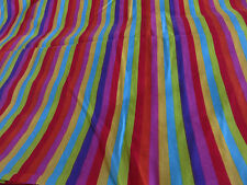 Bright orange yellow teal blue green candy stripe crafts remnant fabric piece