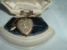 12k YELLOW AND ROSE GOLD FILLED OVER STERLING HEART PHOTO LOCKET PENDANT