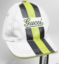 new mens/unisex GUCCI white GG black/yellow front LOGO hat cap S 100% authentic