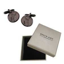 Mens Round Silver Cricket Cufflinks & Gift Box - Cricketer Player Gift By Onyx A