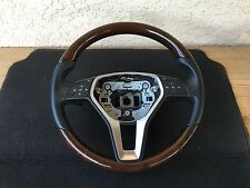 MERCEDES E350 W212 E550 E C CLS CLASS LEATHER WOOD BLACK STEERING WHEEL OEM