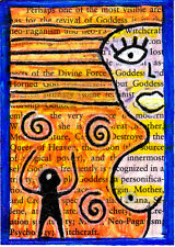 revival of goddess e9Art ACEO Divine Feminine Pagan Art Painting OOAK Ephemera