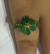 14k Solid Yellow Gold Cluster Ring With Natural Emerald Pear Cut 2.97GM/Size7.5