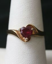 Cute Vintage 10k Yellow Gold Ruby Heart Ring  Size  6.75  Make Offer!  #1079