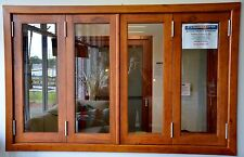 BIFOLD FRENCH WINDOWS, SOLID CEDAR TIMBER, 2400W X 1200H, FULLY BUILT