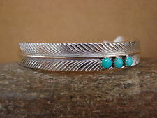 Native American Jewelry Sterling Silver Feather & Turquoise Bracelet