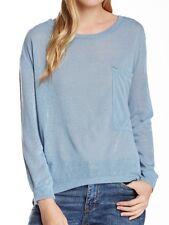 RDI Women's Light Blue Long Sleeve Slub Pocket Tee $60 Sz L I510