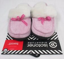 Isotoner  Scuffs Holiday Responsiv Memory Foam Plus Pink Slippers Sz Sm 6.5-7