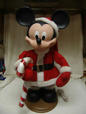 """OLDER DISNEY MICKEY MOUSE AS SANTA W/LARGE CANDY CANE 26"""" TALL ARMS/HEAD MOVE"""