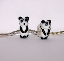 925 S/ SILVER SINGLE CORE MURANO GLASS  BEAD-CHARM- PANDA FOR CHARM BRACELET