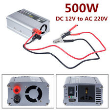 500W Watt USB DC 12V to AC 220V Car Power Inverter for Phone PC TV Vehicle DVD R