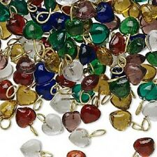 8469GB  Charm Drop Mix  Glass Antiqued Brass Small 4x4mm Vintage Heart, 20 Qty
