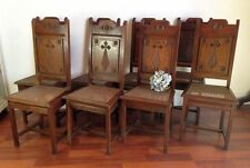 Church Dining Chairs rare Set of Eight Antique French Oak  - g108