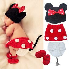 4 Pcs Crochet Newborn Baby Costume Infant Knit Minnie Mouse Outfits Photo Props