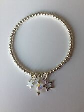 Bijoux Star & Crystal Silver Plated Stacking Bracelet ~ Stretch Elastic Handmade
