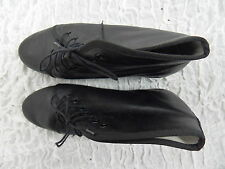 REPETTO PARIS black 100% leather FRENCH lace up wedge ankle boot size 38/7 EUC