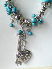 """SILVERTONE & TURQUOISE RESIN 22""""STATEMENT NECKLACE WITH HEART PENDANT £10.99 NWT"""