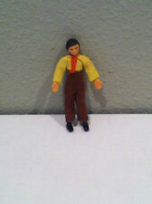 VINTAGE 1970s Asian Chinese Male Figure Yellow Shirt Brown Pants Rubber Karate