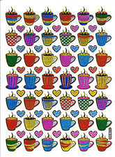 Stickers scrapbooking métallisés Tasses café  13 cm x 10 cm bords dorés