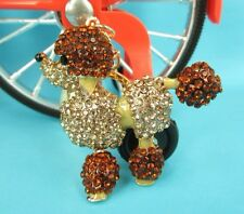 Gold Poodle Dog Lovely Charm Pendent Rhinestone Crystal Purse Bag Key Chain Gift