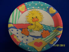 "RARE Suzy's Zoo Baby Shower Retro Duck Party Bulk 10.25"" Paper Banquet Plates"