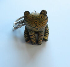 Key Ring/Fob-tiger cat leather-green yellow stripe trigger hook & ring-silver