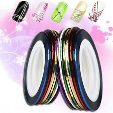 Assorted 10x Rolls Color Striping Tape Line Nail Art Decoration Sticker DIY Hot
