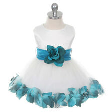 IVORY Flower Girl Dress Petals Wedding Bridesmaid Birthday Infant Toddler Party