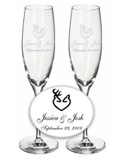 Wedding Champagne Toasting Flutes - 1 Pair - Custom with Browning Buck Heart