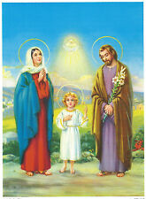 """Catholic Print Picture Holy Family and Blessed Trinity ready to be framed 7x10"""""""