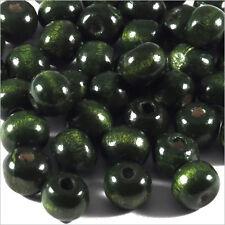 Lot de 100 perles rondes en Bois 8mm Vert Foncé
