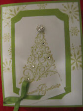 Green Snow Swirled Christmas Tree Handmade Card Kit lot Some Stampin Up 4 cards
