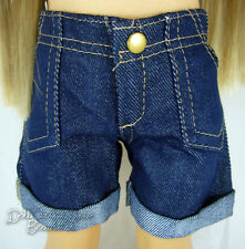 "Dark Denim Cuffed Shorts for 18"" American Girl Doll Clothes Accessories"