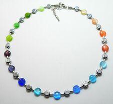 Kette Halskette  farbig bunt Cat Eye Scheiben silber Perlen Glas Scheibe  336c