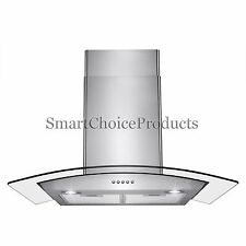 "30"" Stainless Steel Push Control Wall Mount Kitchen Cooking Range Hood Vent Fan"
