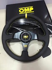 OMP 330mm Leather Flat Steering Wheel MOMO Racing Drifting Rally Yellow Strip