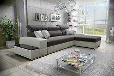 Silver corner sofa bed, left or right hand corner, faux leather or fabric